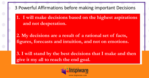 Affirmations before making important decisions