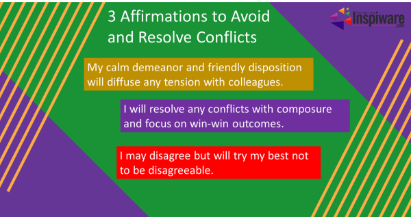 Affirmations to avoid and resolve conflicts